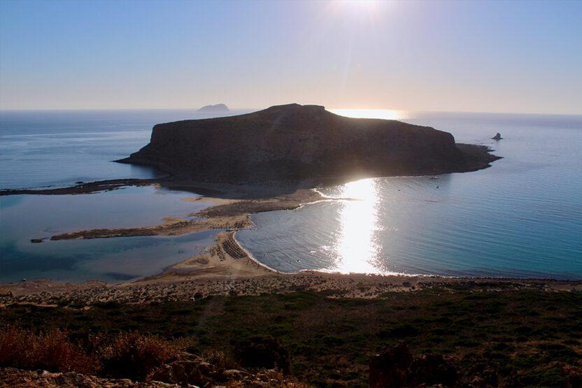 Die Lagune von Balos auf Kreta während der Abenddämmerung