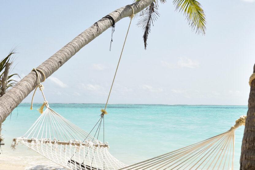 Hängematte direkt am Strand zwischen zwei Palmen