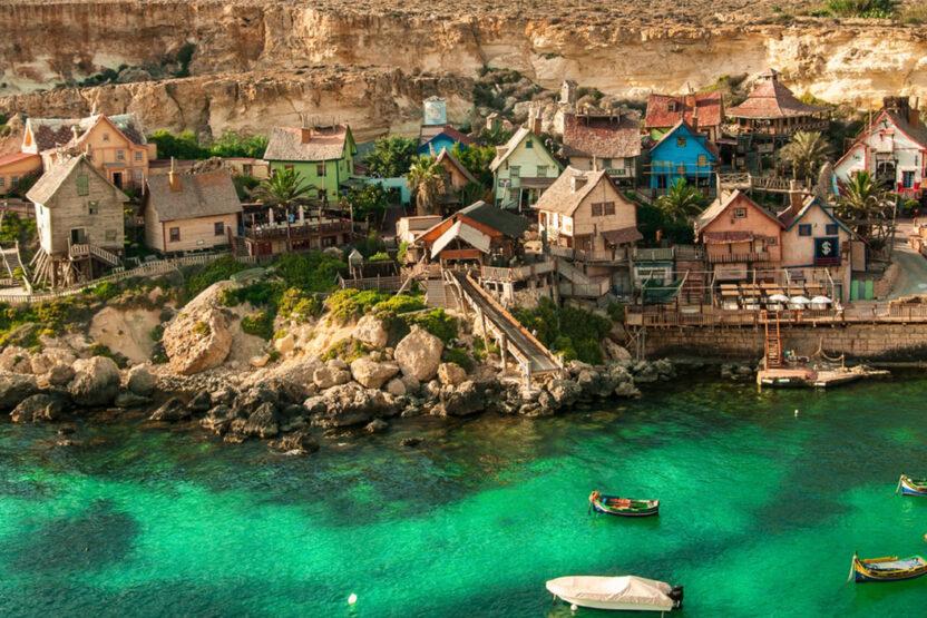 Blick auf das Popeye Village in Malta