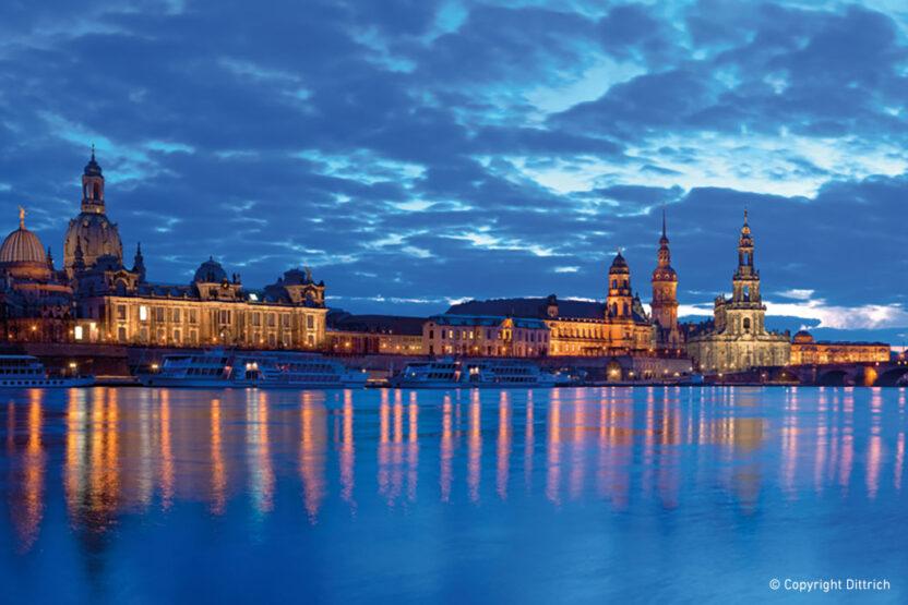 Dresden Silhouette am Abend