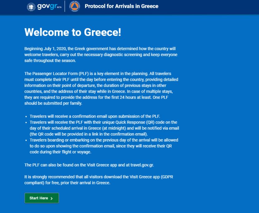 Das Einreise-Formular für den Griechenlandurlaub